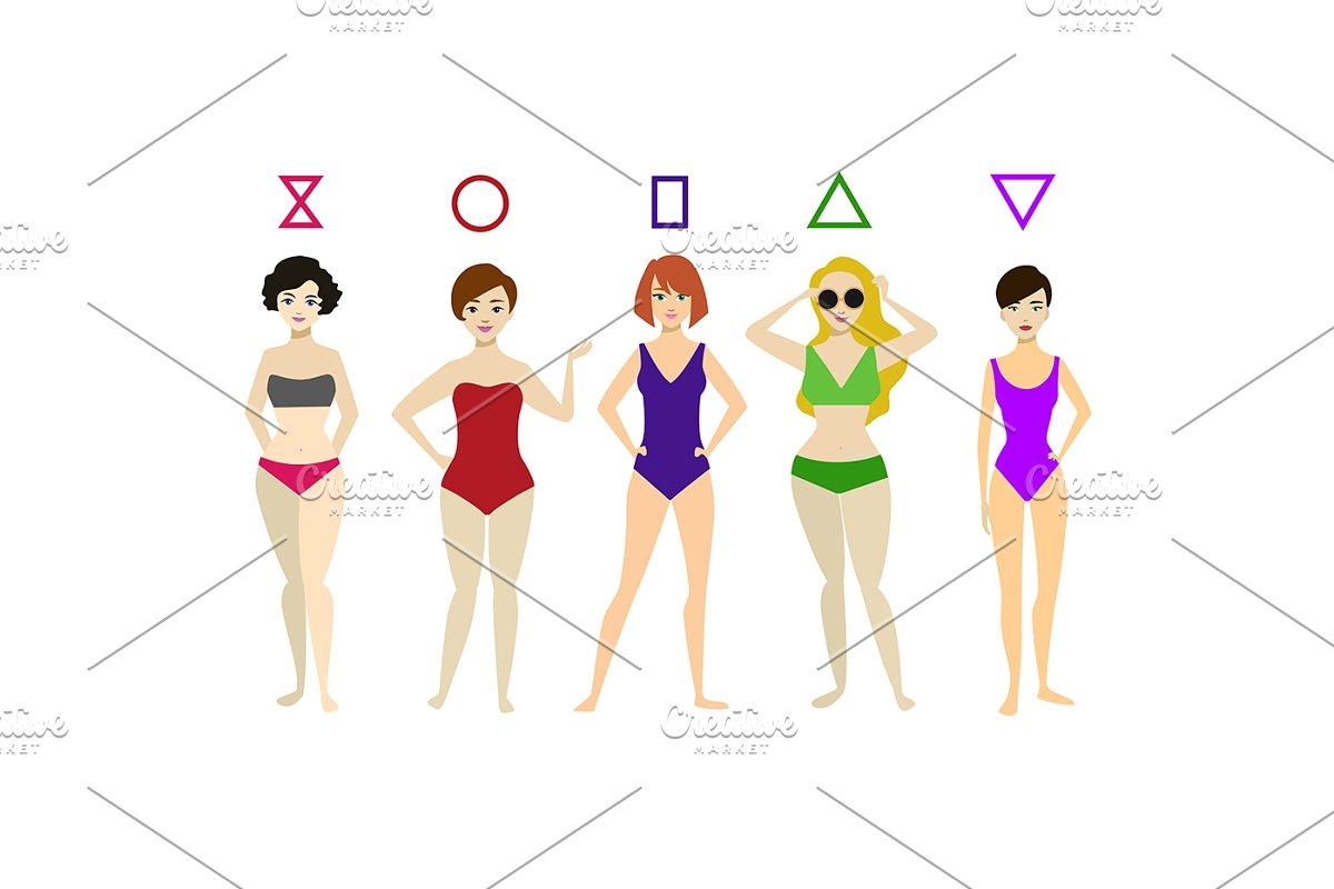 35358bd2ae668 Cartoon Woman Body Shape Different T ~ Illustrations ~ Creative Market