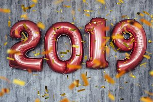 Balloons 2019 confetti Christmas and