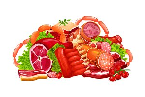 Meat, sausages and butchery vector