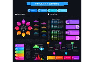 Infographic elements, graphs, charts