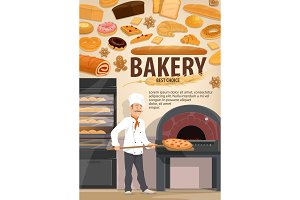 Baker with pizza, bakery pastry shop