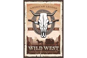 Wild west, bull skull and knives