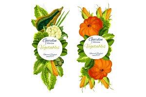Garden vegetables icons farm harvest