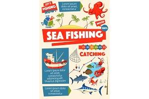 Sea fishing sport, ship and fish