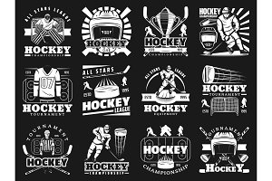 Ice hockey sport monochrome icons