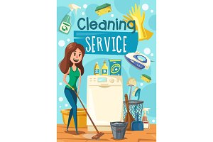 Cleaning service woman mopping floor