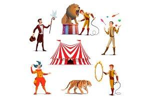 Circus tent magician, clown, juggler