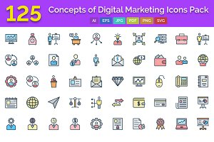 125 Digital Marketing Vector Icons