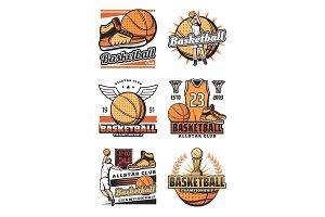 Cup and ball on basketball icons