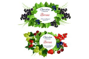 Garden berries icons with fruits
