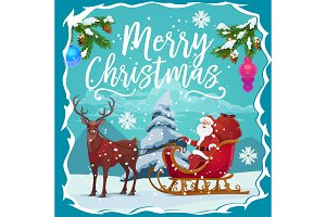 Christmas sleigh, Santa gifts, deer