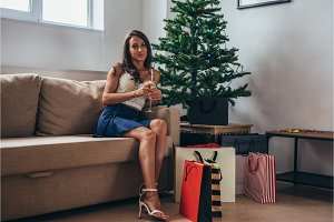 Christmas holiday happy woman with