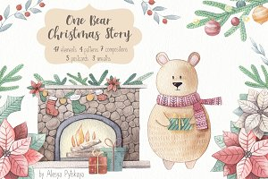 One Bear Christmas Story-Watercolor