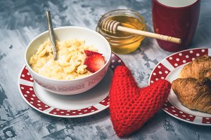 Breakfast on Valentine Day with red