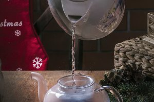 Different colored tea in glassware o