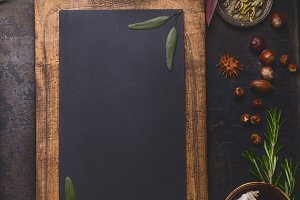 Blank chalkboard and ingredients