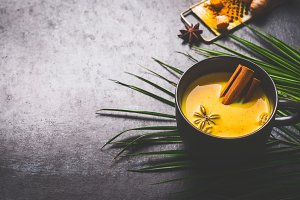 Mug of golden turmeric milk