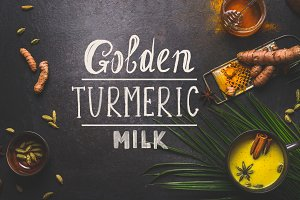 Golden turmeric milk with spices