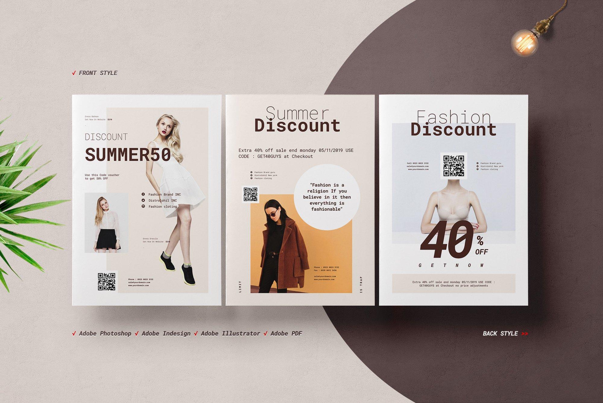Fashion Postcard Flyers Creative Illustrator Templates Creative Market