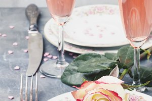 Festive table setting for valentines