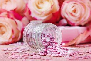 Pink sugar hearts, Valentines card o
