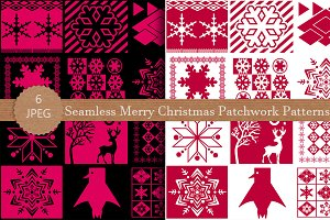 Seamless Merry Christmas Patchwork