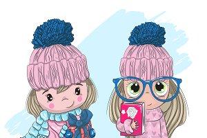 two cute little girl friends.