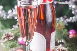 Pink champagne in a glass