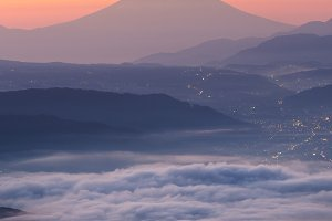 View of Mount Fuji and Sea of mist a