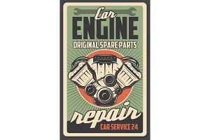 Auto engine, car repair service