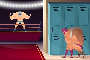 Martial fighting ring. Wrestler