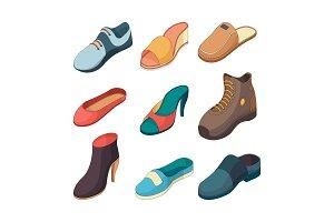Shoes isometric. Fashion foot shoe