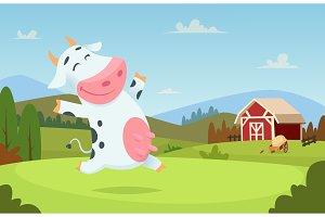 Cow at farm. Field ranch milk