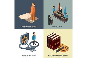 Legal isometric concept. Lawyer