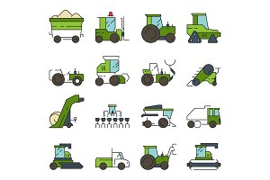 Village transport. Farm machines and
