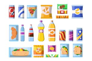 Beverages food. Plastic containers