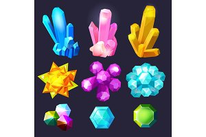 Crystal gemstones cartoon. Jewels