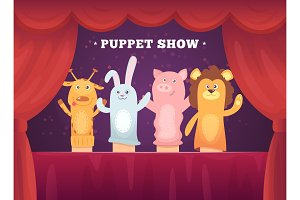 Puppet show. Red curtains theatre