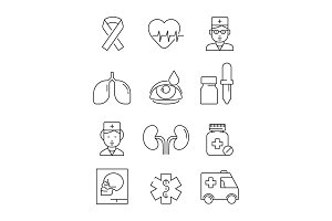 Health care line icons. Medical
