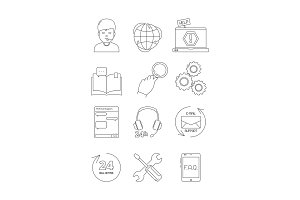 Online support icons. Call center