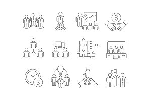 Team building icons. Work group of