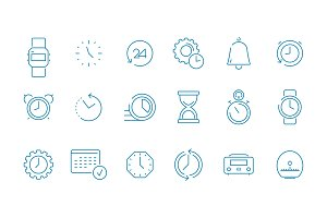 Clock pictogram set. Fast time