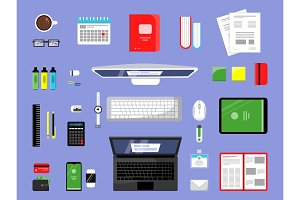 Office items top view. Business and