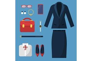 Businesswoman clothes. Fashion