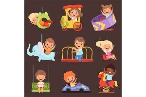 Amusement park kids. Playing happy