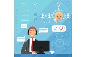Customer service concept. 24h