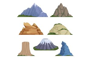 Cartoon mountains. Snow rockies
