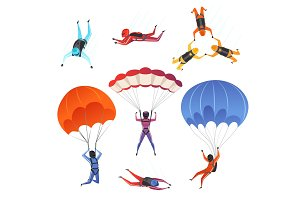 Parachute jumpers. Extreme sport