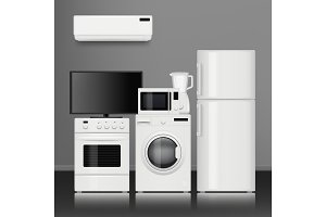 Kitchen home appliances. Household