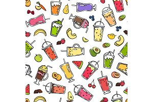 Vector doodle smoothie pattern or